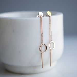 Geometric Hollow Disc and Bar Chain Earrings -Rose